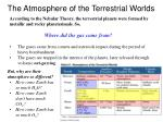 the atmosphere of the terrestrial worlds
