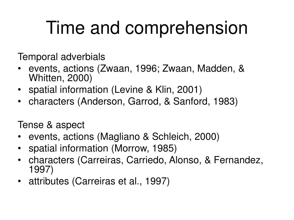 Time and comprehension
