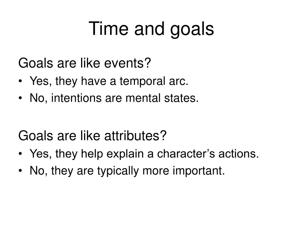 Time and goals