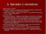 b narrador o narradores