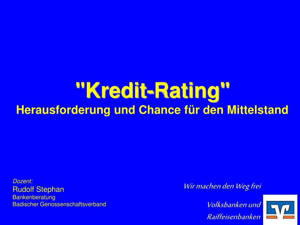 kredit rating herausforderung und chance f r den mittelstand l.
