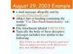 august 29 2003 example