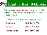 identity theft addendum