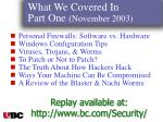 what we covered in part one november 200393
