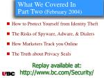 what we covered in part two february 2004