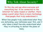 why talk about security7