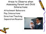 areas to observe when assessing parent and child interactions