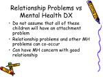 relationship problems vs mental health dx