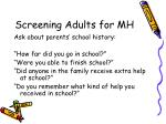 screening adults for mh