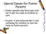special issues for foster parents