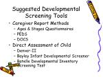 suggested developmental screening tools