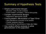summary of hypothesis tests