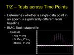 t z tests across time points