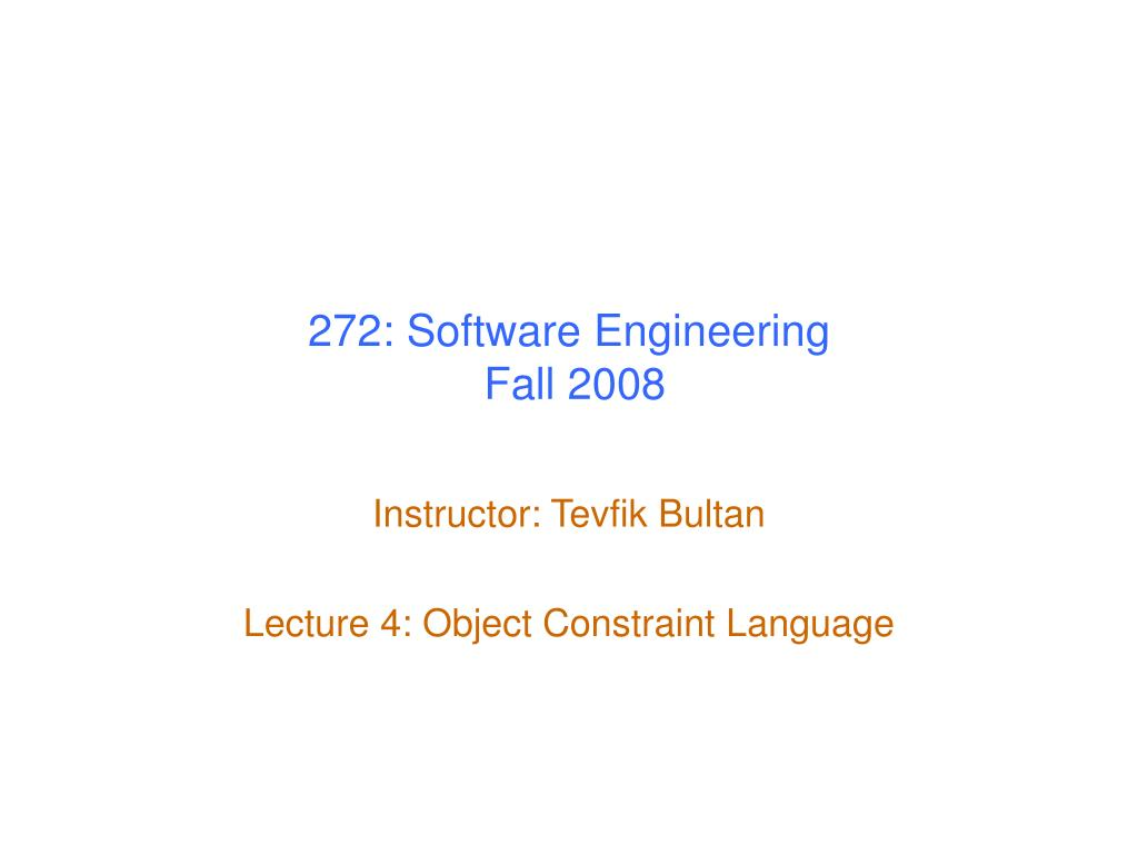 272 software engineering fall 2008 l.