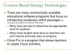 context based strategy technologies
