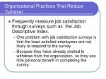 organizational practices that reduce turnover