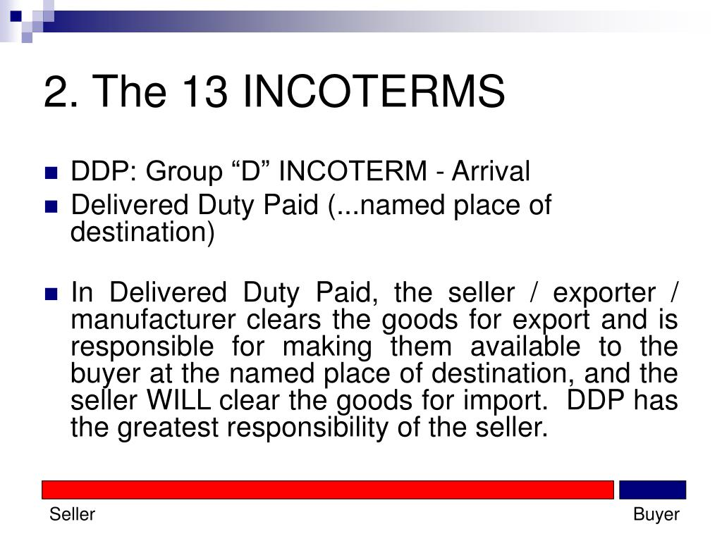 2. The 13 INCOTERMS