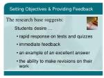 setting objectives providing feedback16
