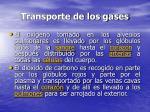 transporte de los gases
