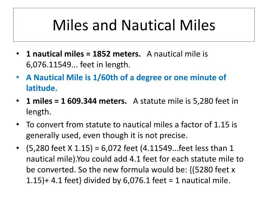 Miles and Nautical Miles
