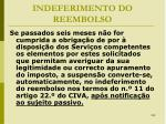 indeferimento do reembolso