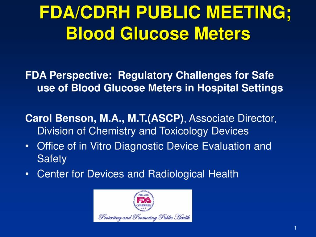 fda cdrh public meeting blood glucose meters l.