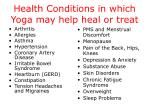 health conditions in which yoga may help heal or treat