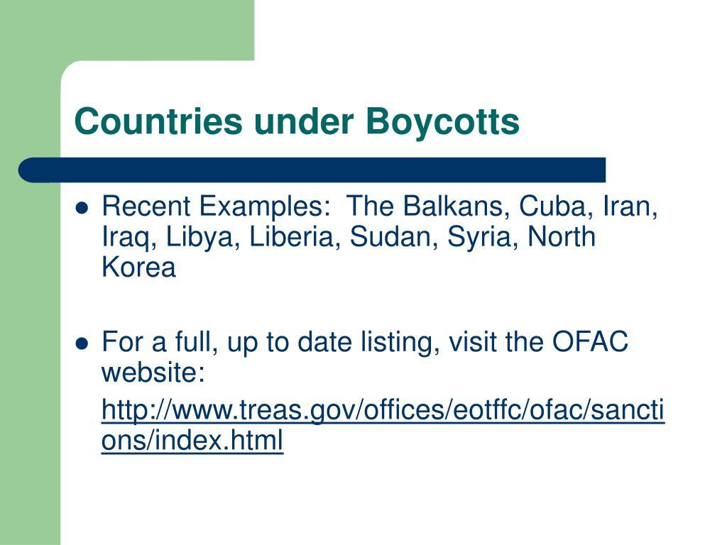 Countries under Boycotts