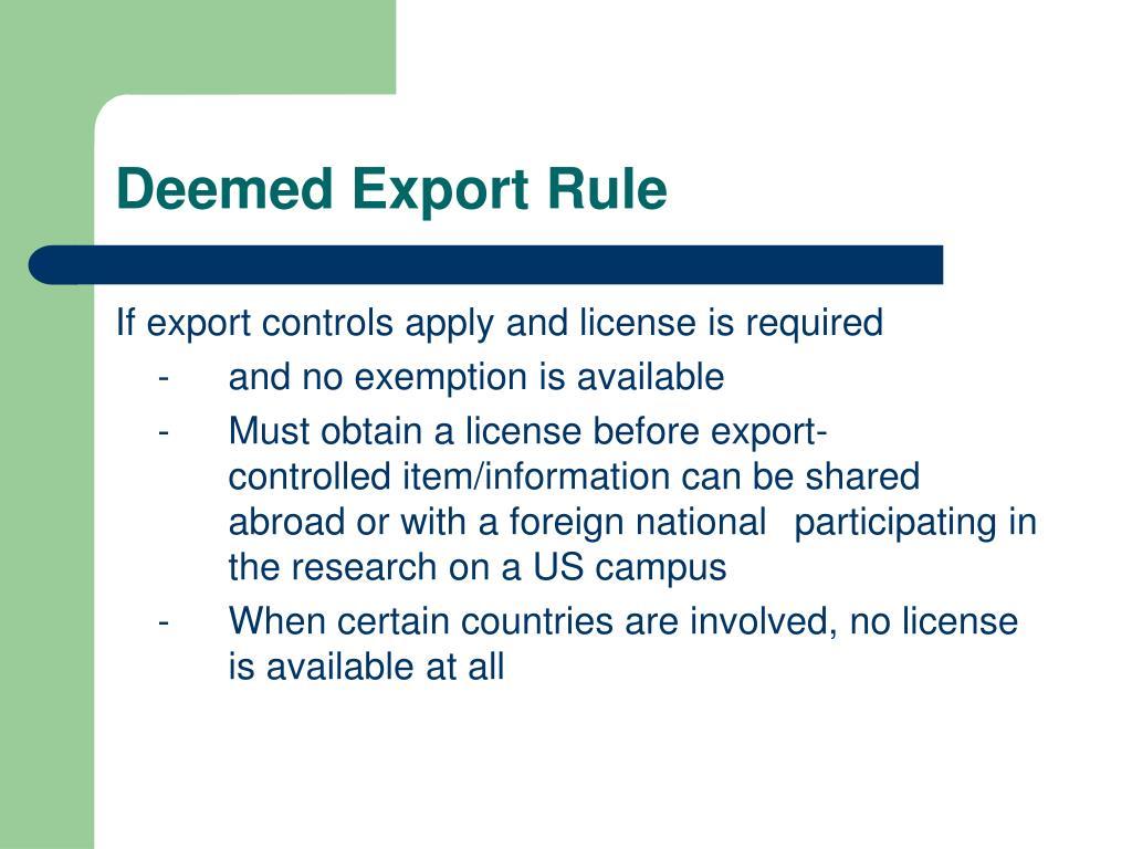 Deemed Export Rule