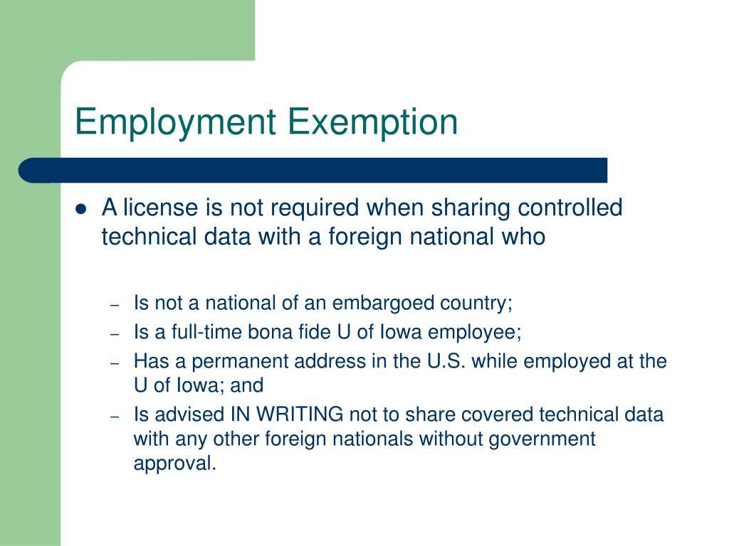 Employment Exemption