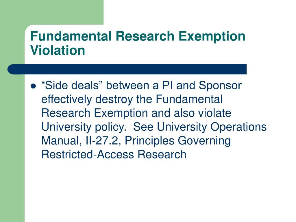 Fundamental Research Exemption Violation
