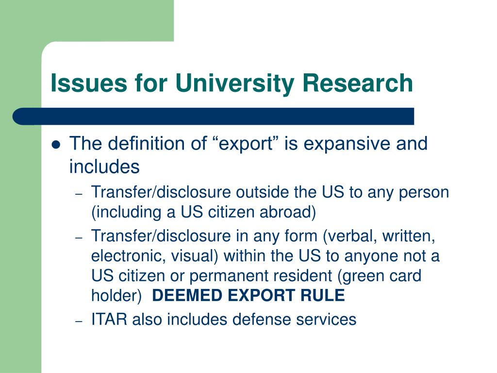 Issues for University Research