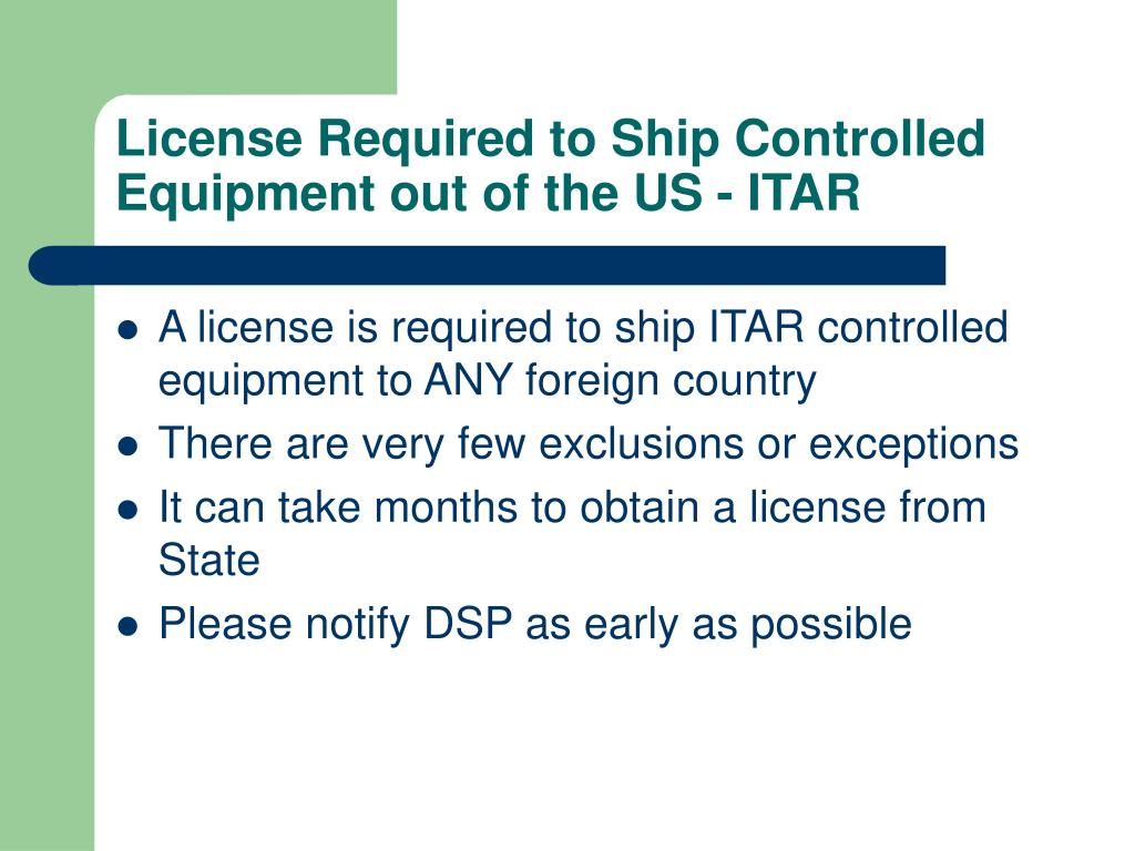 License Required to Ship Controlled Equipment out of the US - ITAR