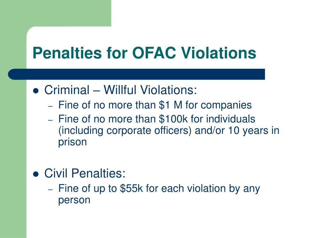 Penalties for OFAC Violations