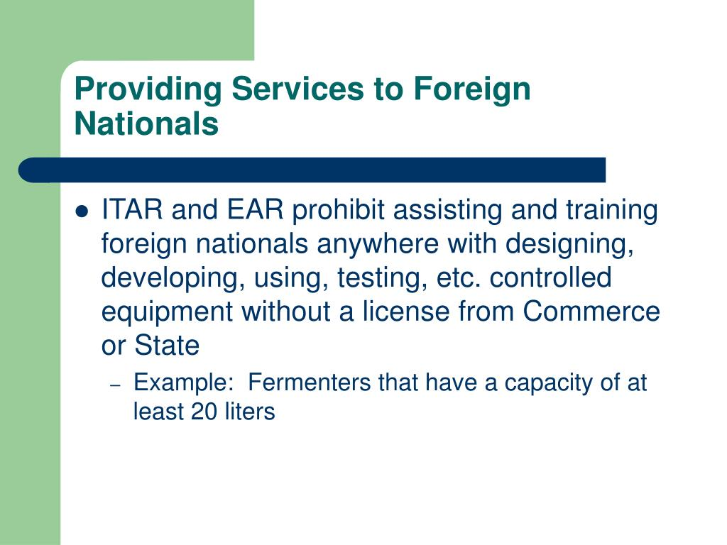 Providing Services to Foreign Nationals