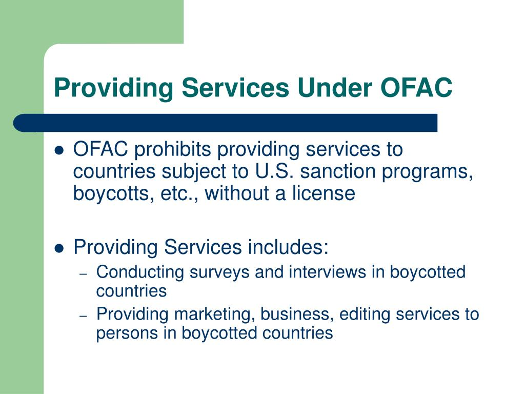 Providing Services Under OFAC