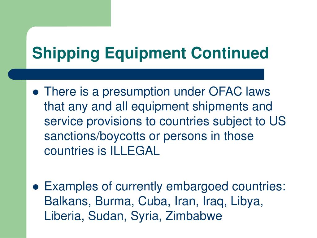 Shipping Equipment Continued