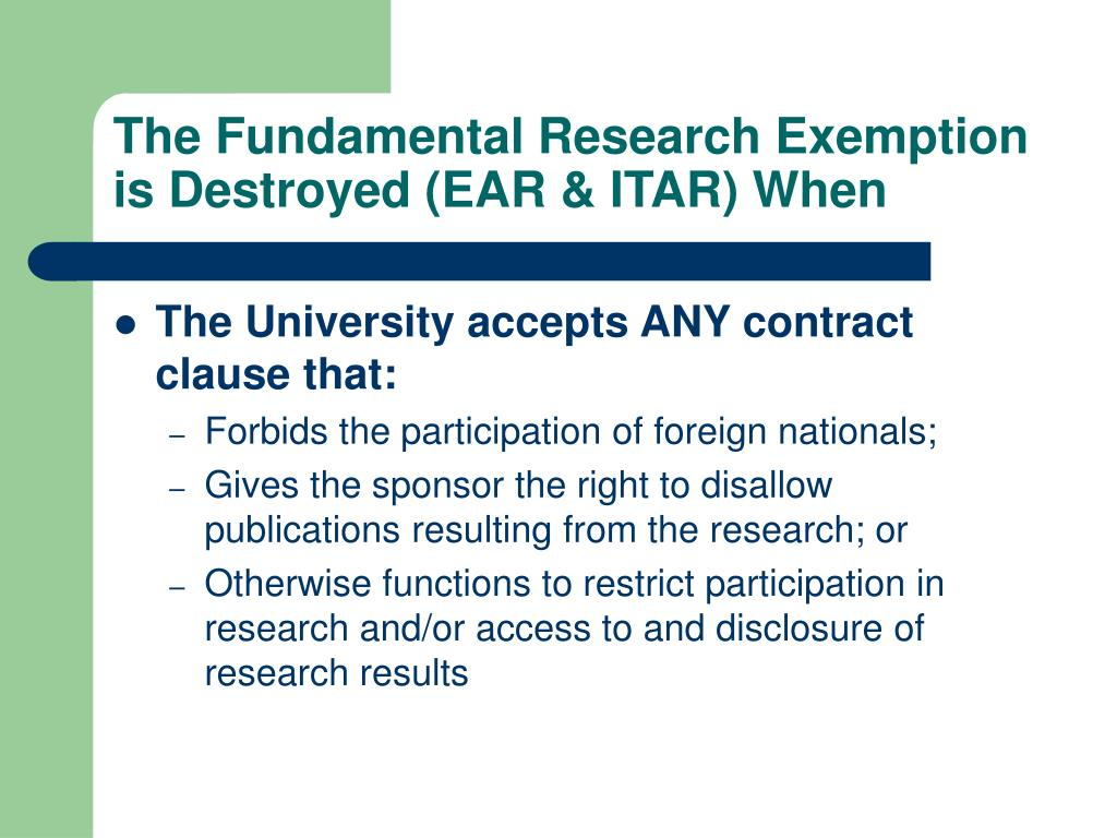 The Fundamental Research Exemption is Destroyed (EAR & ITAR) When