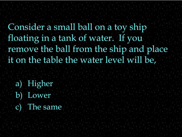 Consider a small ball on a toy ship floating in a tank of water.  If you remove the ball from the sh...