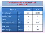 the characteristics of the suez canal 1869 2010