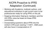 aicpa proactive to ifrs adaptation continued
