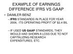 example of earnings difference ifrs vs gaap