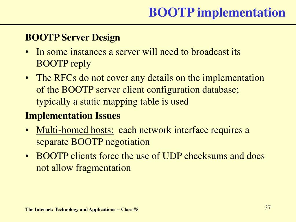 BOOTP implementation