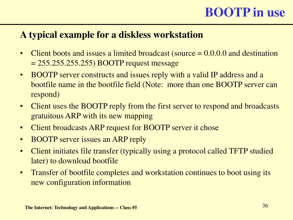 BOOTP in use