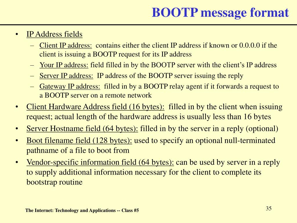 BOOTP message format
