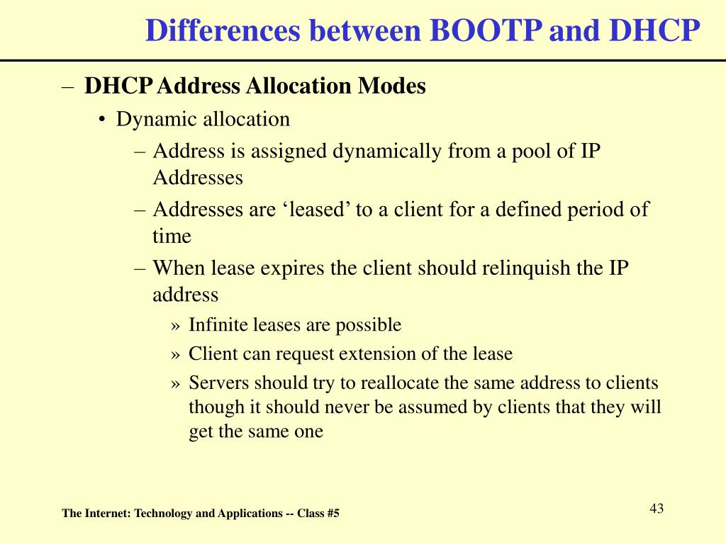Differences between BOOTP and DHCP