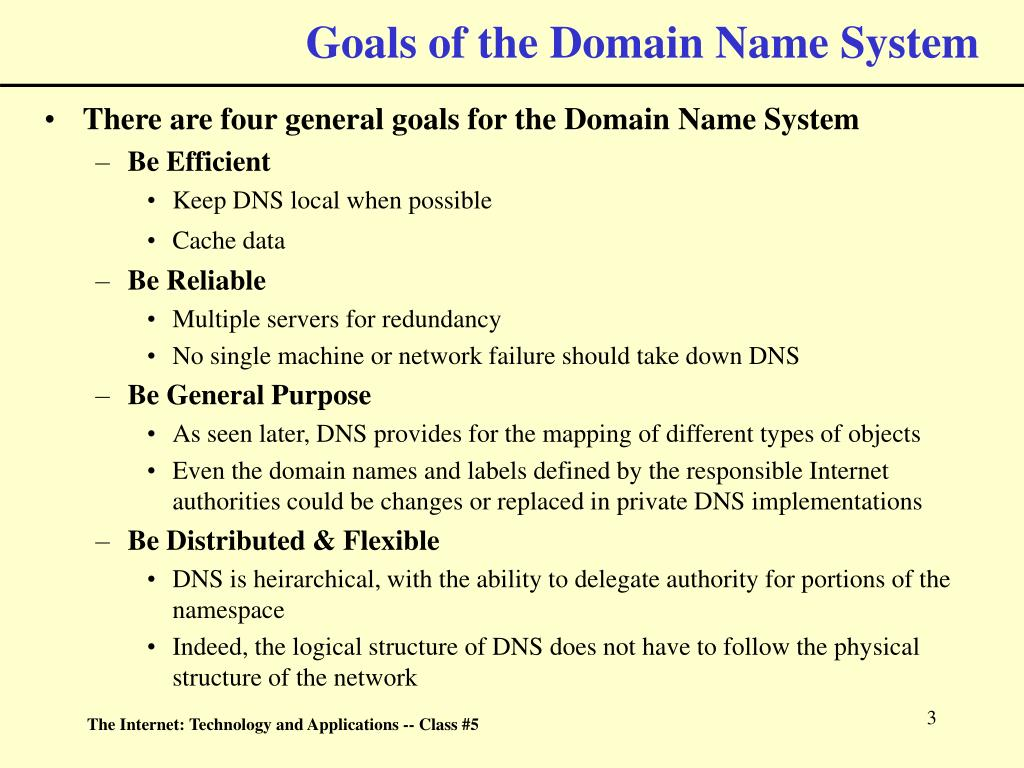 Goals of the Domain Name System