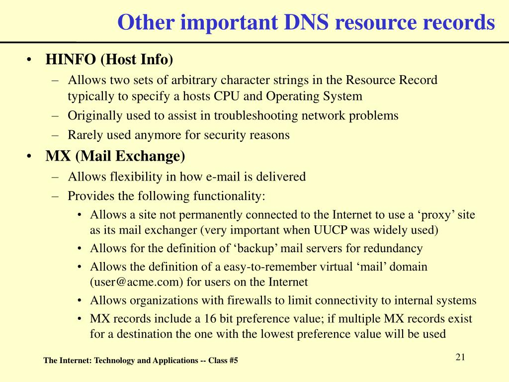 Other important DNS resource records