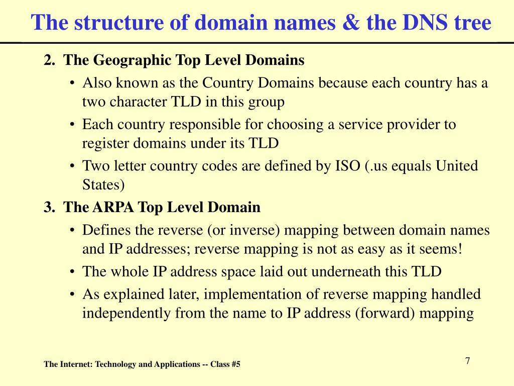 The structure of domain names & the DNS tree