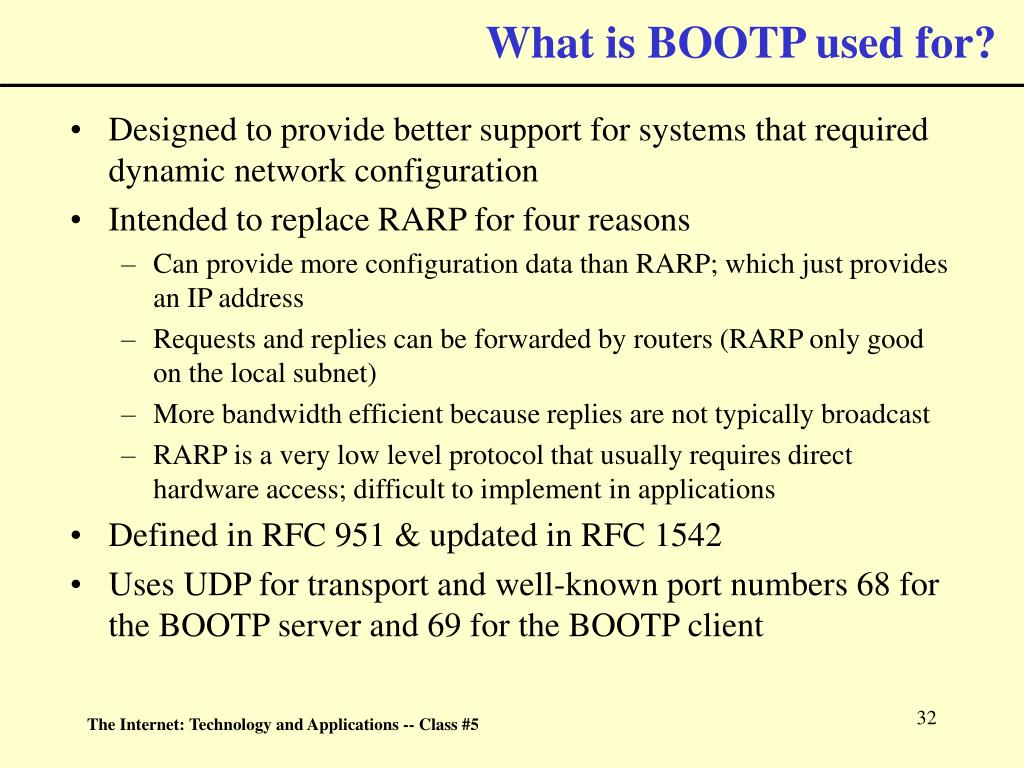 What is BOOTP used for?
